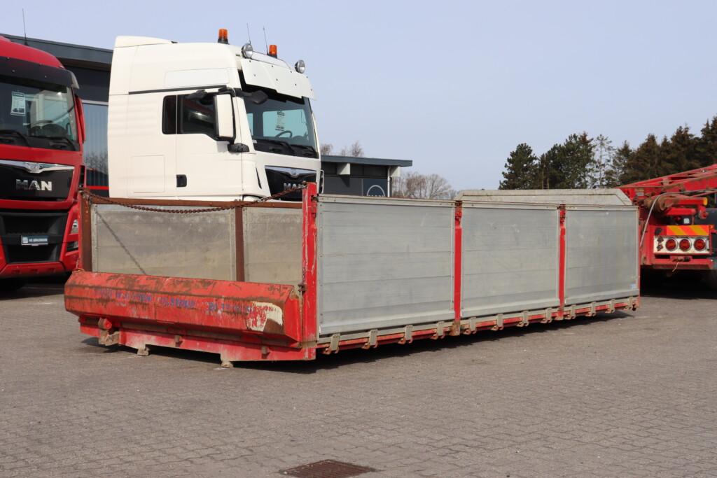 Containerlad m. 3 delte alusider og aut. bagsmæk