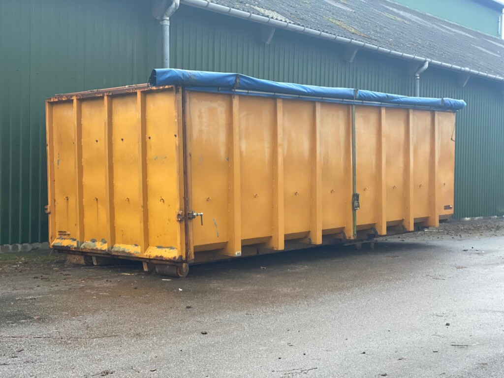 Kommission – Diverse Rustfri Stål Container m. Manuel Rullepresenning 30 m3